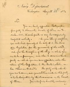 William Bell's Letter of Appointment as Transit of Venus Photographer for the U.S. Navy, August 21, 1882 - page 1