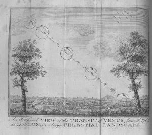 An engraving of Benjamin Martin's artificial transit of 1769, with Venus on the Sun as it sinks towards the horizon. Martin's mechanical demonstration is set in a 'celestial landscape' with a westward view from Islington looking over the fields north of London.