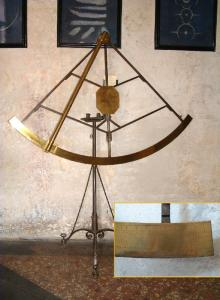Movable quadrant by S. Menini - Bologna, 1710: brass and iron, radius 100 cm.